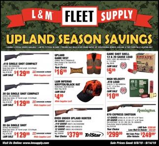 Upland Season Savings