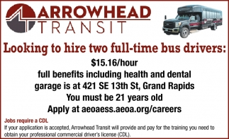 Looking To Hire Two Full-Time Bus Drivers