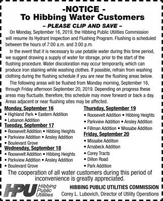 To Hibbing Water Customers