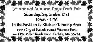 3rd Annual Autumn Days Craft Fair