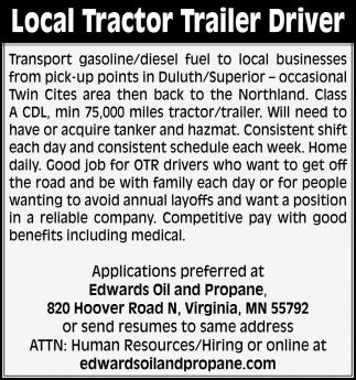 Local Tractor Trailer Driver