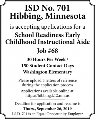 School Readiness Early Childhood Instructional Aide