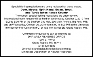Special Fishing Regulations