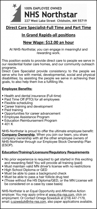 Direct Care Specialist - Full Time