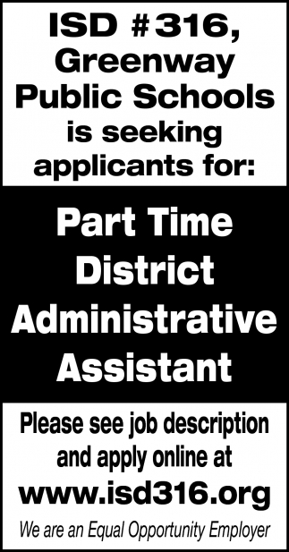 Part Time District Administrative Assistant