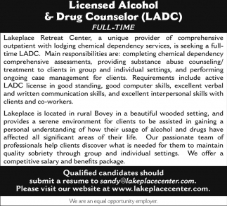 Licensed Alcohol And Drug Counselor Lakeplace Retreat Center