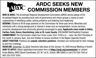 Seeks New Commission Members