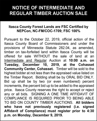 Notice Of Intermediate And Regular Timber Auction Sale