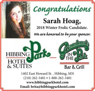 Congratulations Sarah Hoag
