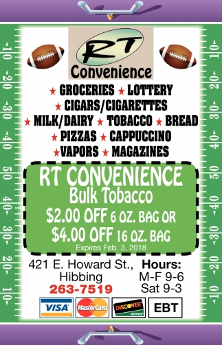 Groceries - Lotttery - Cigars/Cigarettes - Milk/Dairy - Tobacco