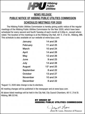 Schedule Meetings For 2020