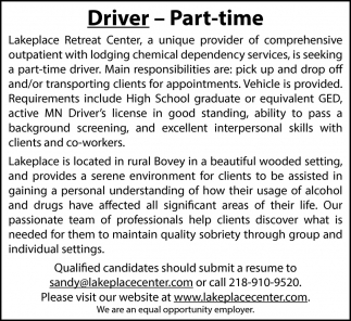 Driver - Part-Time