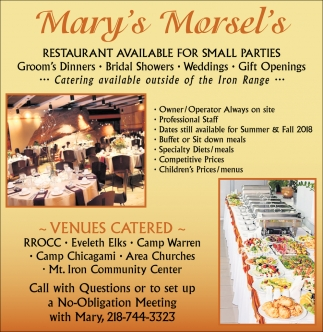 Restaurant Available For Small Parties