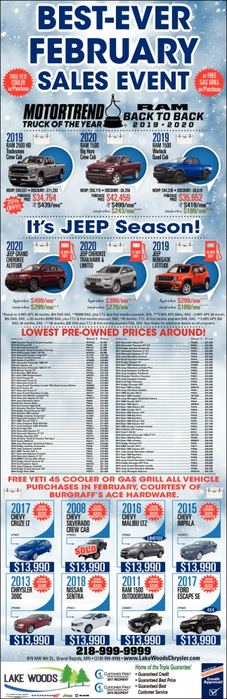 Best-Ever February Sales Event