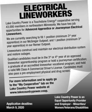 Electrical Lineworkers Needed