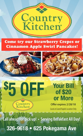 Come try our strawberry crepes or cinnamon apple swirl pancakes country kitchen restaurant grand rapids mn