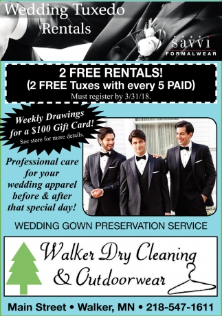 Wedding Tuxedo Rentals, Walker Dry Cleaning And Outdoorwear, Walker, MN