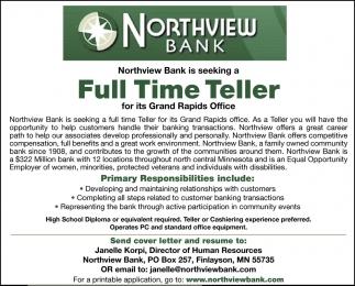 Full Time Teller, Northview Bank