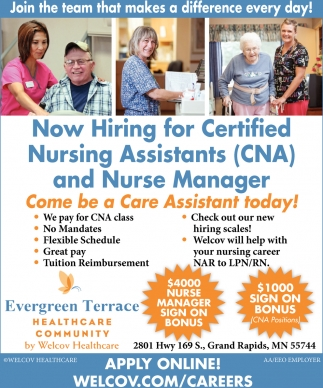 Now Hiring For Certified Nursing Assistants Evergreen Terrace