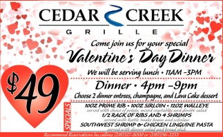 Valentine S Day Dinner Cedar Creek Grille Grand Rapids Mn
