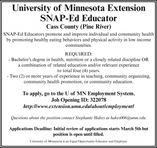 Extension SNAP-Ed Educator
