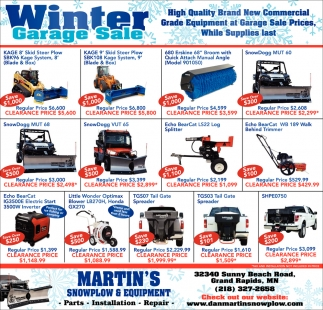 Winter Garage Sale Martins Snowplow And Equipment Grand Rapids Mn