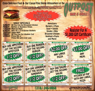 Daily Specials, Outpost Bar & Grill, Deer River, MN