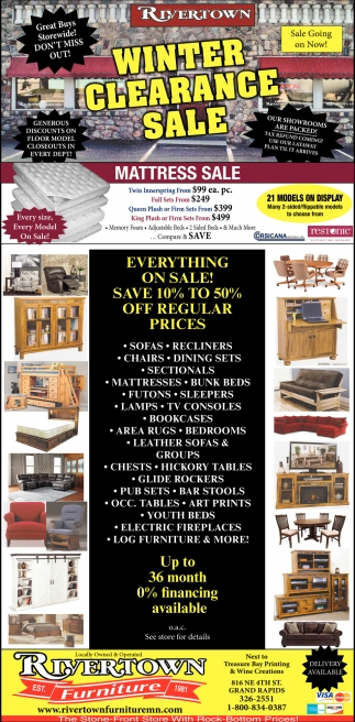 Winter Clearance Sale, Rivertown Furniture, Grand Rapids, MN
