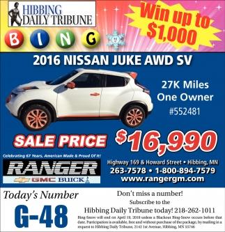 2016 Nissan Juke AWD SV