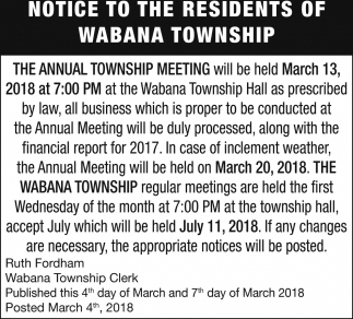 Notice To The Residents Of Wabana Township