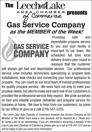 Gas Service Company As The Member Of The Week!