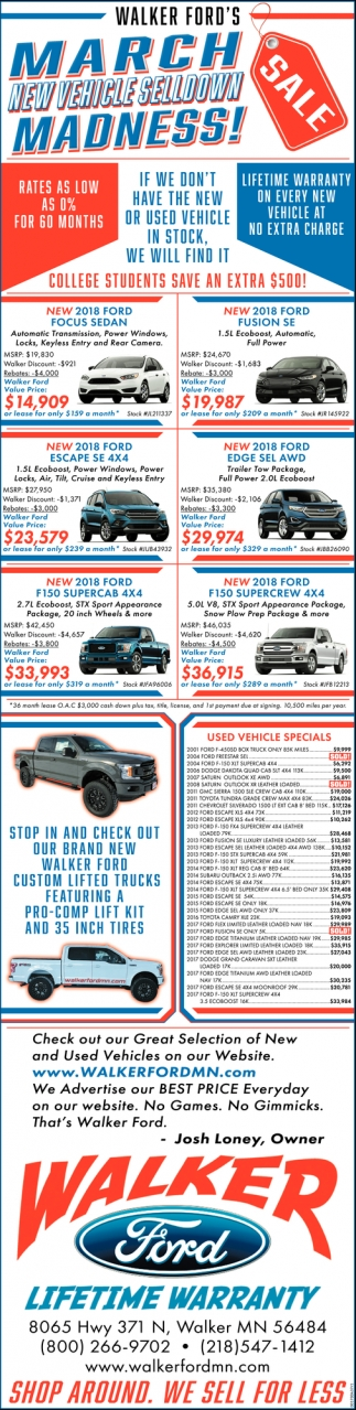 March New Vehicle Selldown Madness!