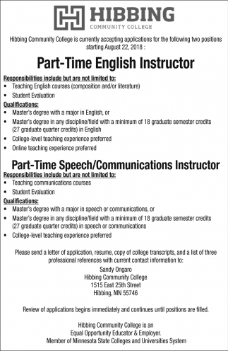 Part-Time English Instructor