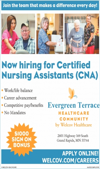 Certified Nursing Assistants Cna Evergreen Terrace Healthcare Community