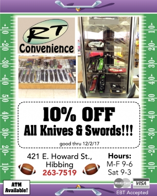 10% Off All Knives And Swords!!!