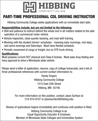 Part-Time Professional CDL Driving Instructor