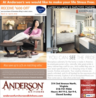 American Made And Employee Owned, Anderson Furniture, Duluth, MN