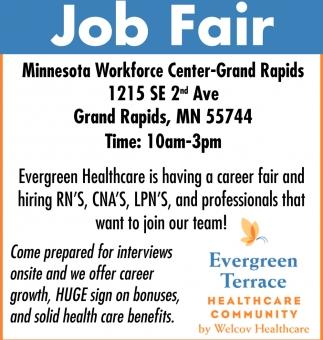 Job Fair Evergreen Terrace Healthcare Community Grand Rapids Mn