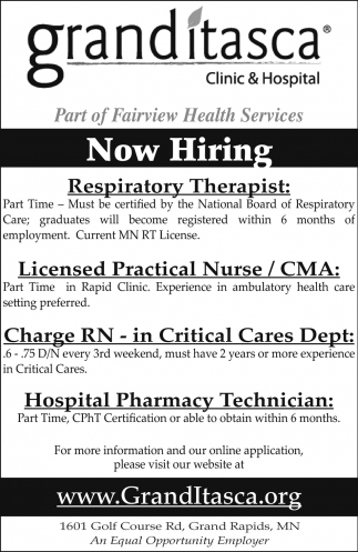 Now Hiring Grand Itasca Clinic Hospital Grand Rapids Mn