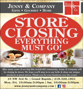 Store Closing Everything Must Go Jenny And Company Grand Rapids Mn