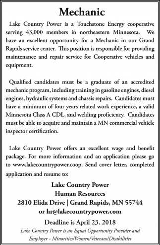 Excellent Opportunity For A Mechanic, Lake Country Power, Grand Rapids, MN