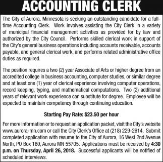 Accounting Clerk The City Of Aurora Aurora MN