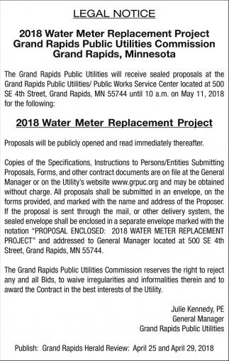 Legal Notice Grand Rapids Public Utilities Grand Rapids Mn