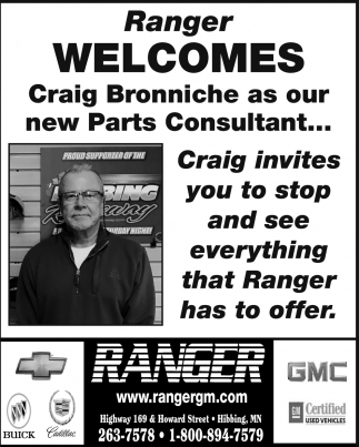Ranger Welcomes Craig Bronniche As Our New Parts Consultant...