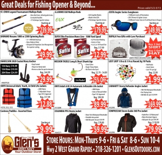 Great Deals For Fishing Opener & Beyond...