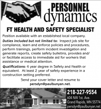 FT Health And Safety Specialist