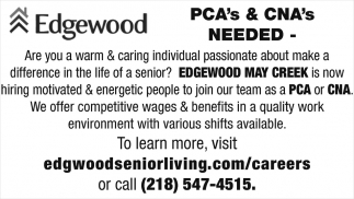 PCA's And CNA's Needed