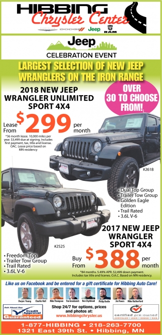 Largest Selection Of New Jeep Wranglers On The Iron Range