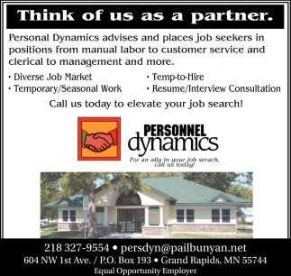 Think Of Us As A Partner