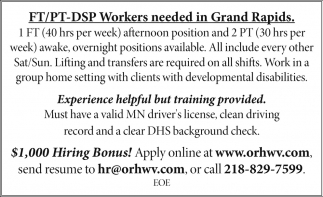 FT / PT-DPS Workers